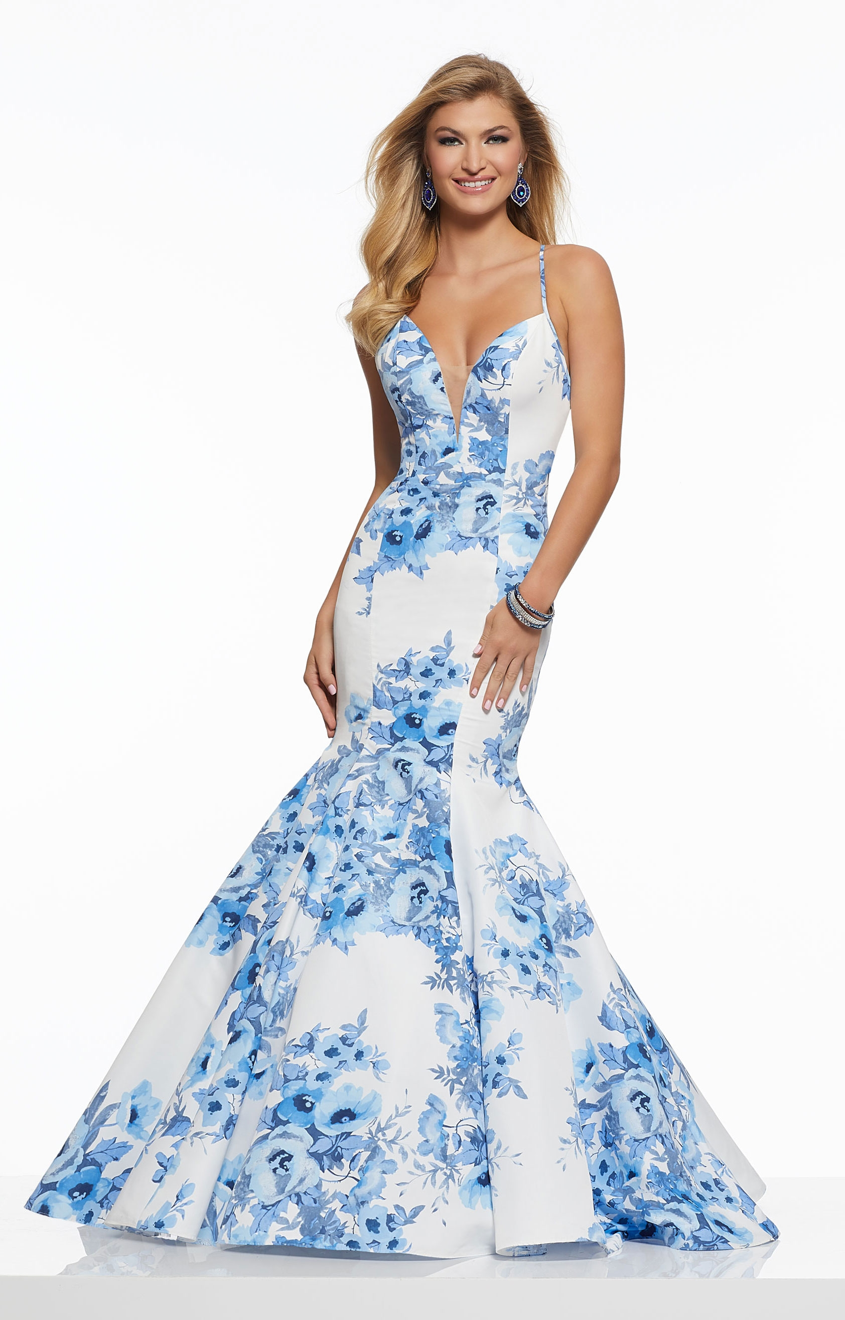 b14d4e48ce Morilee Prom 43116A - Plunging Neckline Floral Open Back Gown