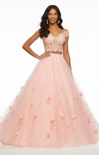 Tulle 3D Floral Ballgown Two-Piece