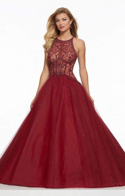 7b7b1a2dae6 Morilee Prom 43033. Morilee Prom 43033. Sheer Beaded Corset Back Ball Gown   550.00