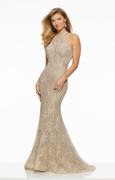 Glamorous Fitted Lace Gown