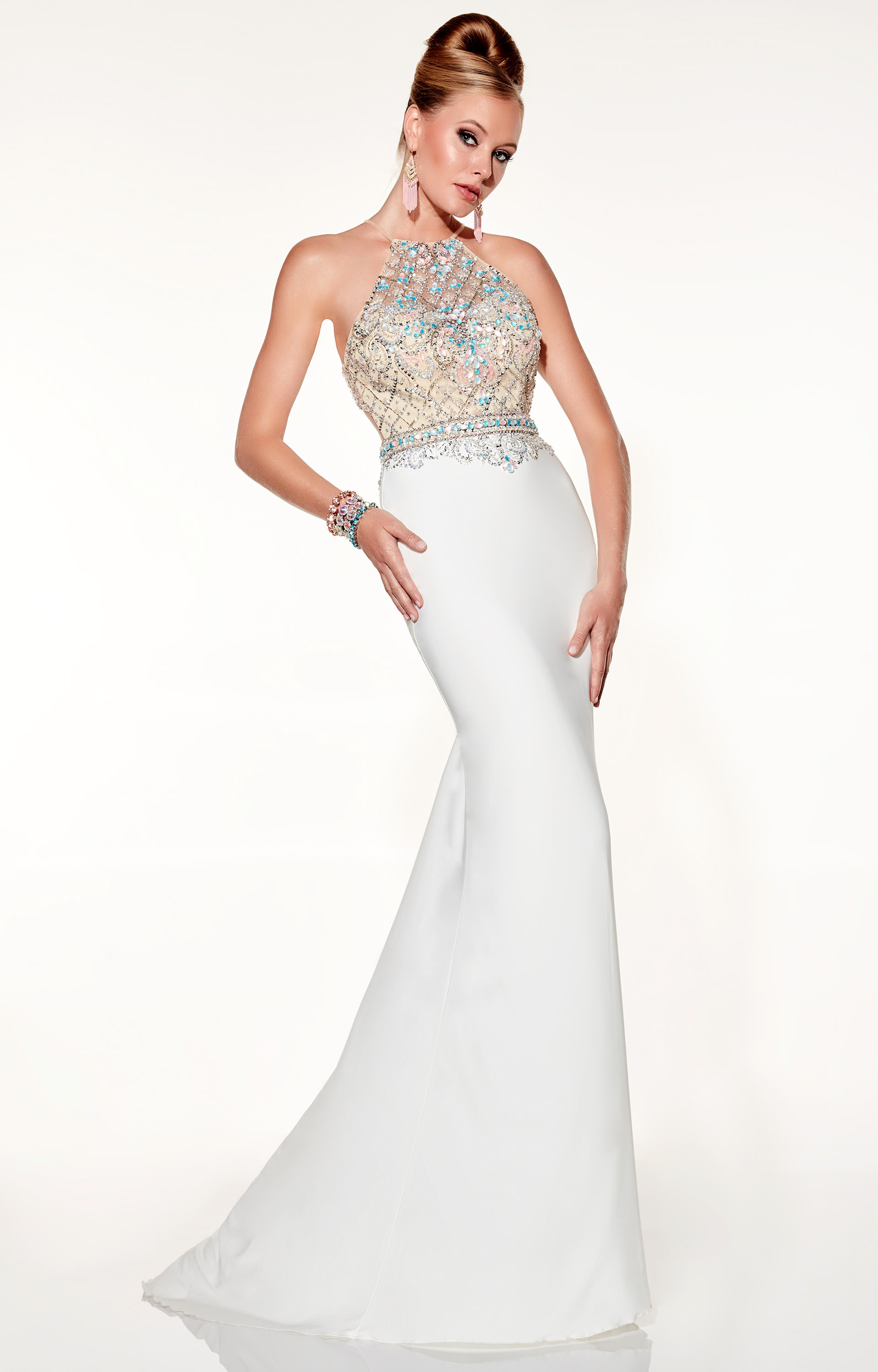 Panoply 14824 Halter Beaded Top Open Racer Prom Dress