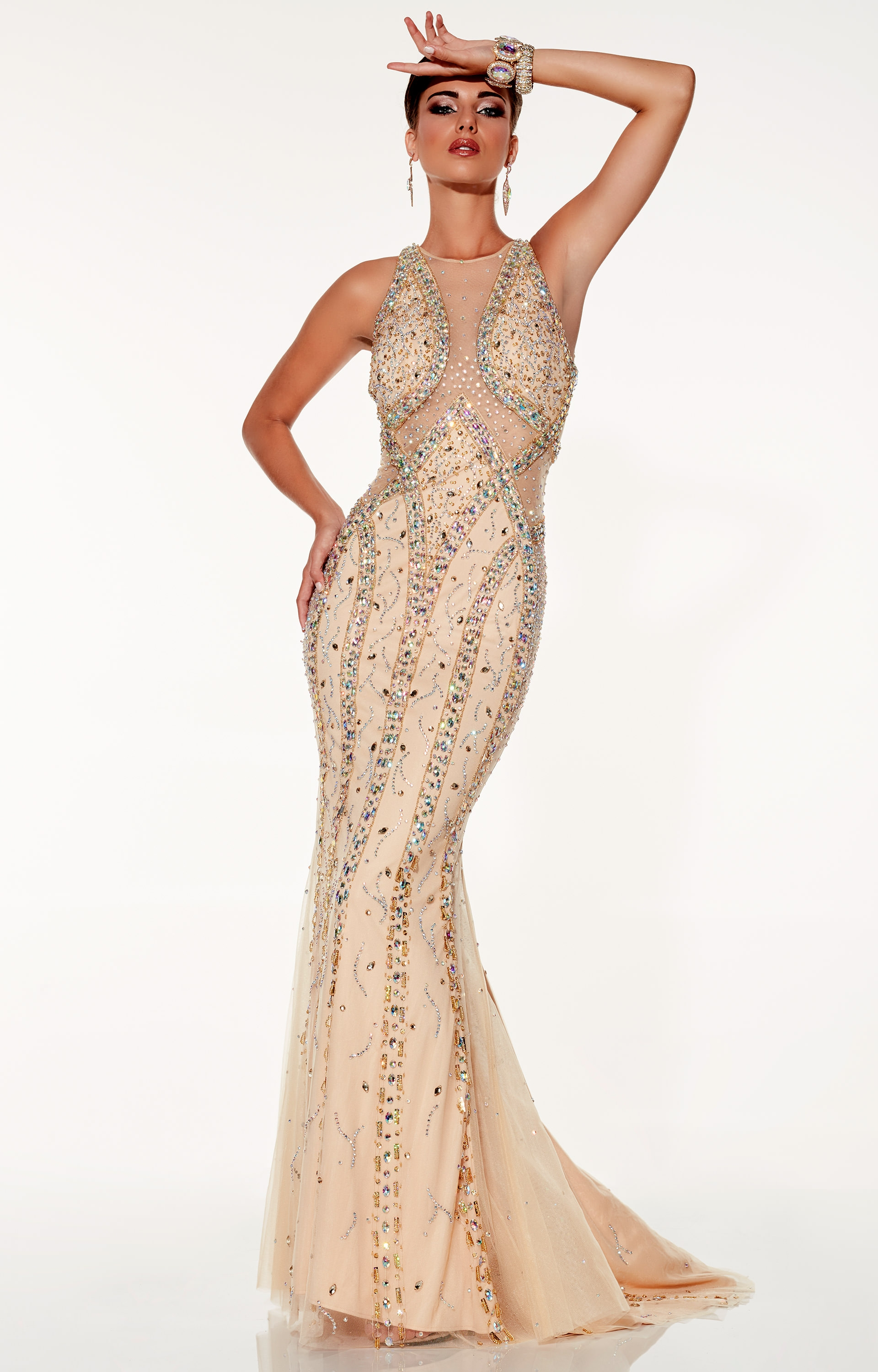 Panoply 14833 Sexy Mesh Fit And Flare Gown Prom Dress