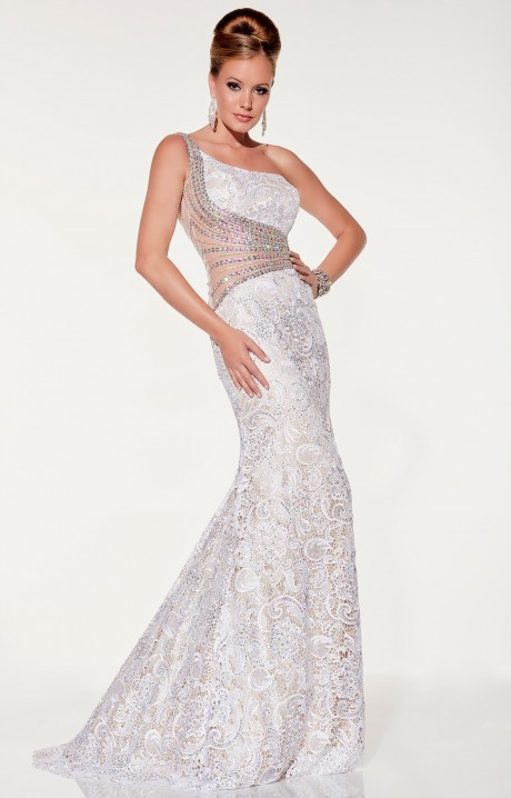 Panoply 14851 Mermaid Lace Dress With One Shoulder