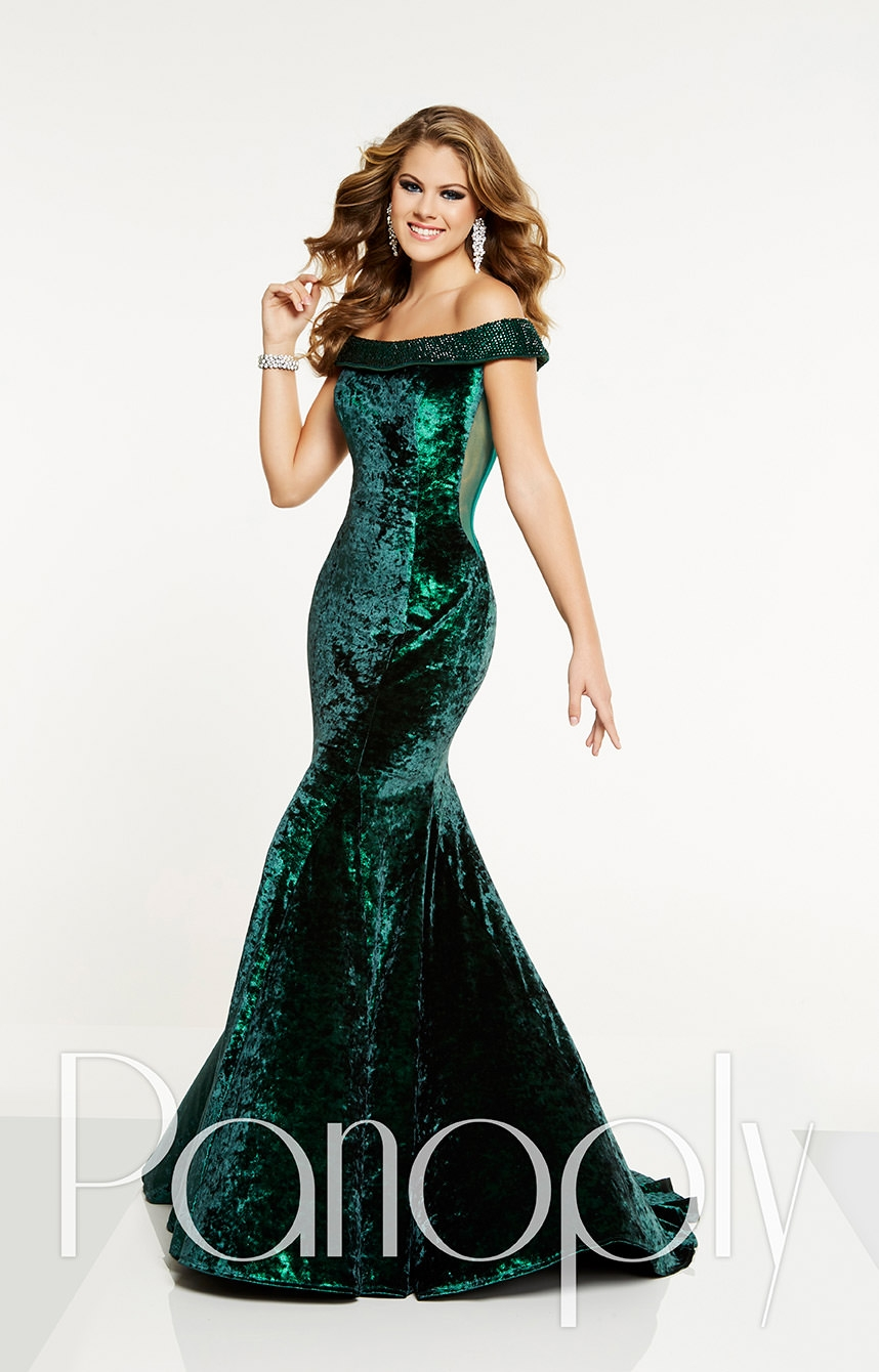 Panoply 14897 Off The Shoulder Fitted Crushed Velvet