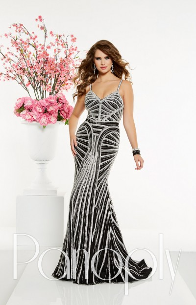 Long Beaded Tulle Sheath