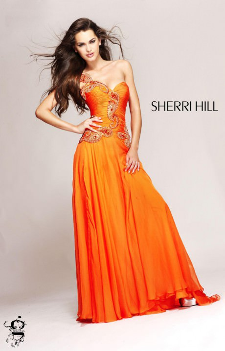 Orange Chiffon Its Fashion Metro Blouses Dark Brown: Formal Evening Prom Dress