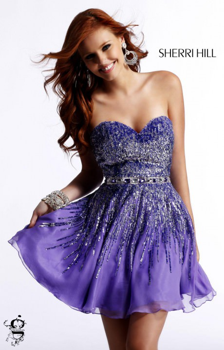 Sherri Hill 8413 Short Strapless Sequin Dress Prom Dress