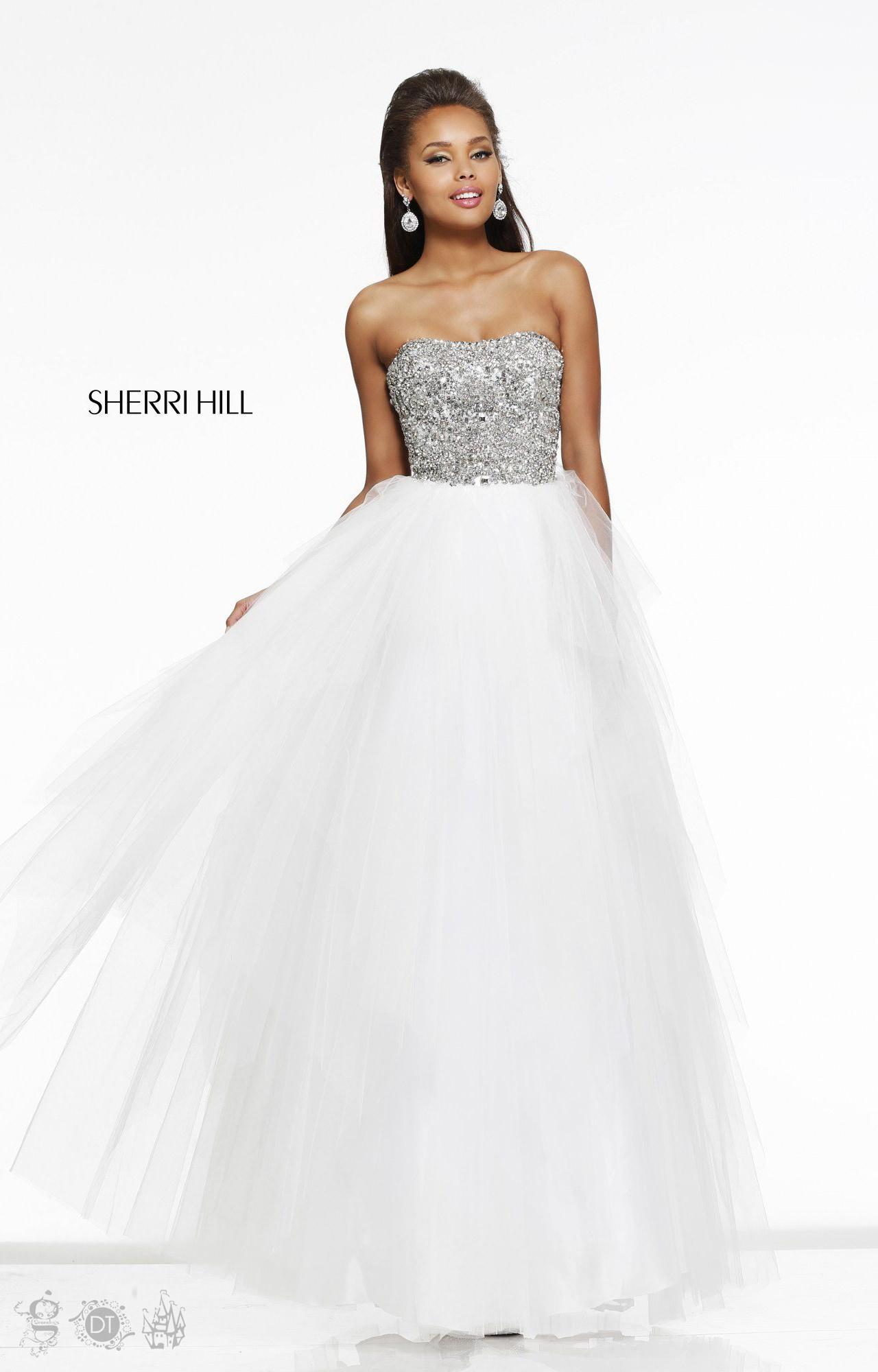 Sherri Hill 11085 Strapless Beaded Cut Tulle Ball Gown