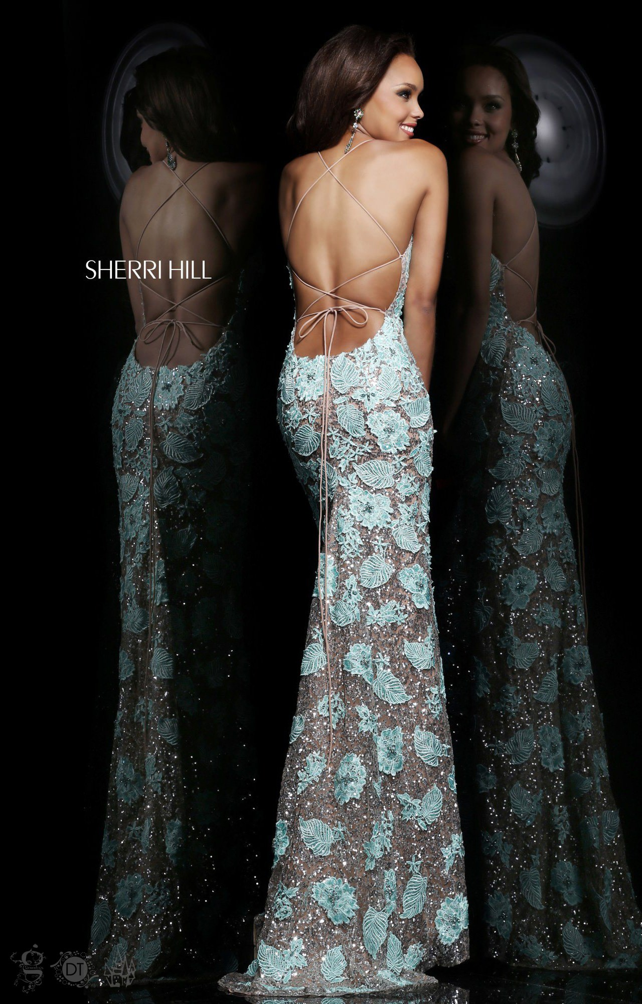 Sherri Hill 11125 Fitted Floral Lace With Straps Dress