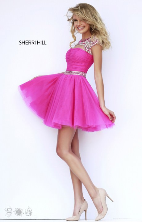 sherri hill 11191 short capped sleeve dress prom dress