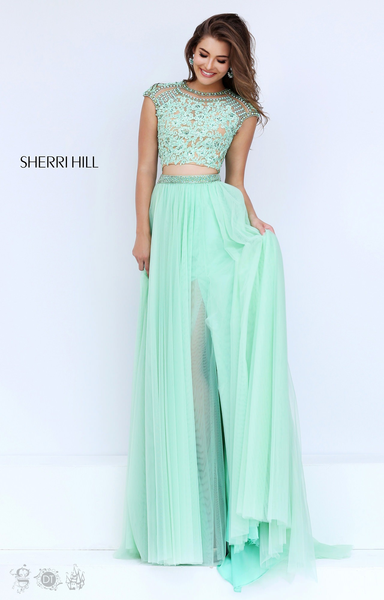 Sherri Hill 50110 - Lace Two Piece with Cap Sleeves and Tulle Skirt ...