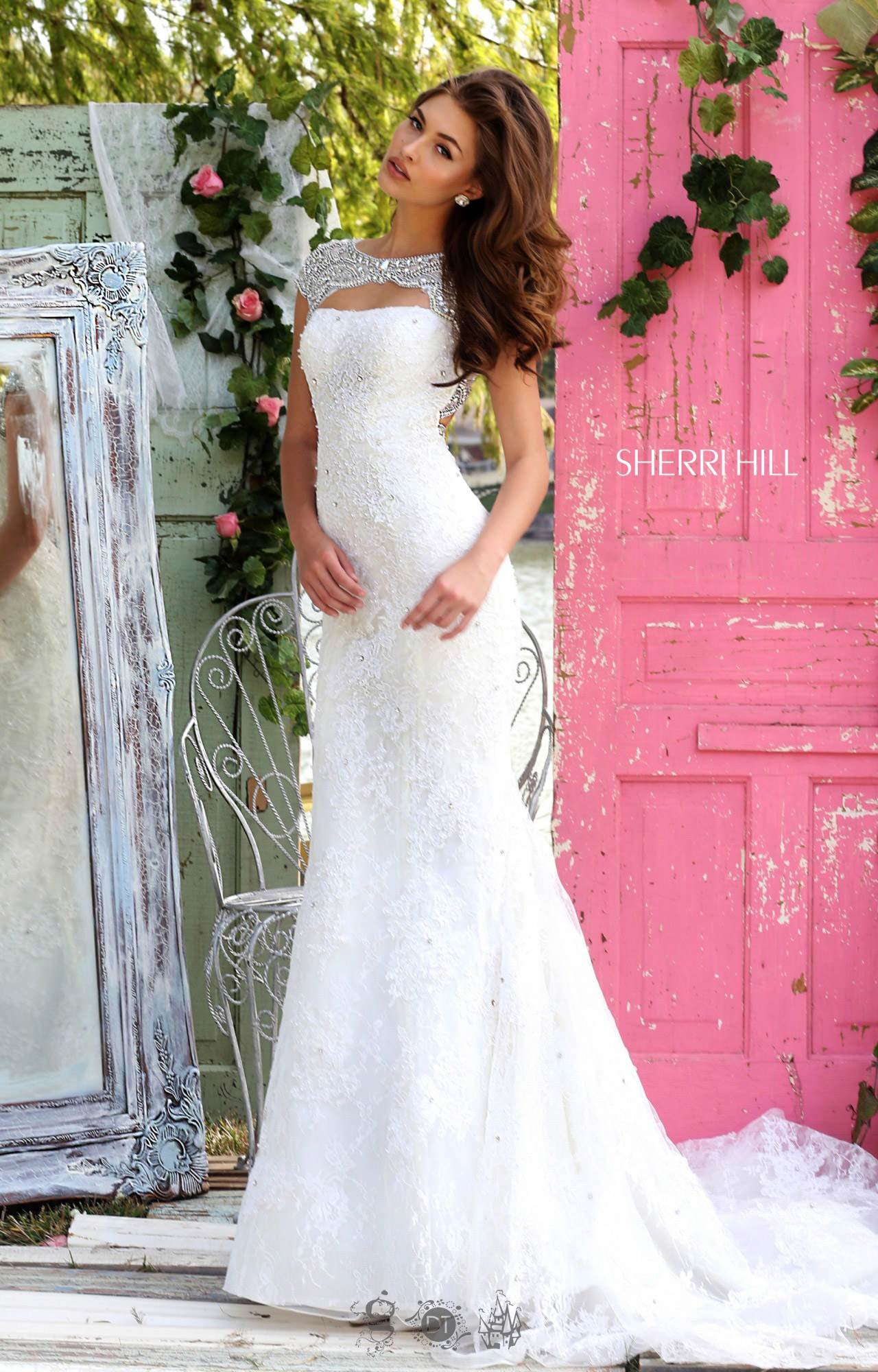 Sherri Hill Beaded Cap Sleeve Lace Mermaid with