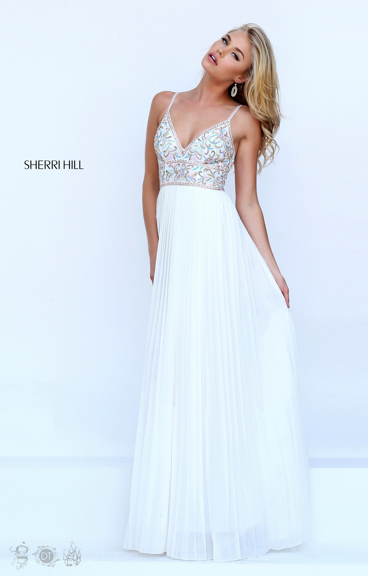 Sherri Hill 50432 Sleevless Chiffon Beaded V Neck Prom Dress