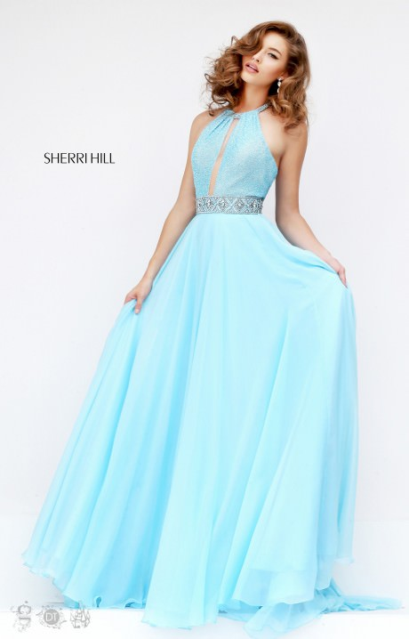 Sherri Hill 50454 Blue Long Halter Top Beaded Prom Dresses Sale ...