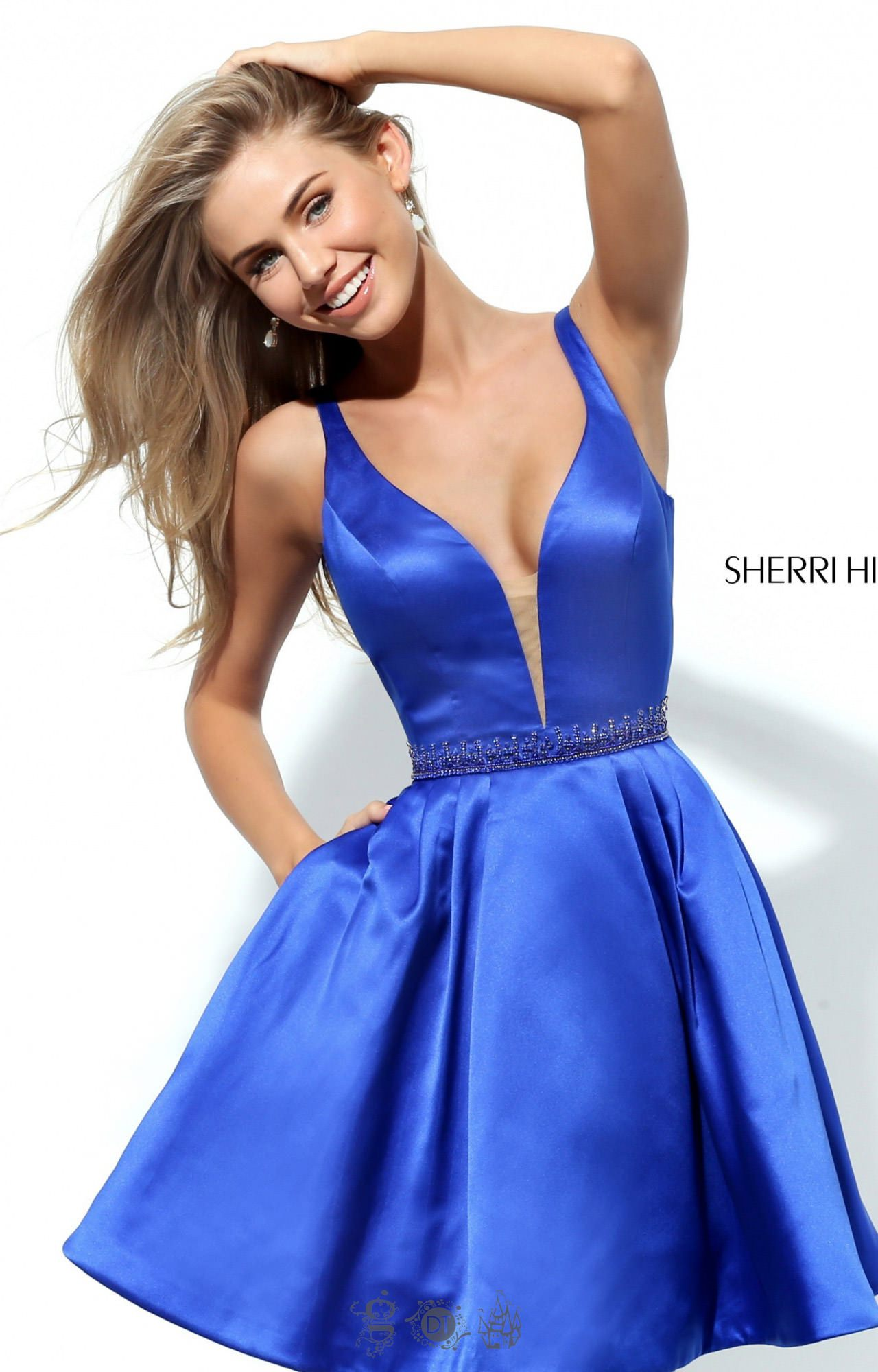 sherri hill 50495 satin short dress with straps prom dress