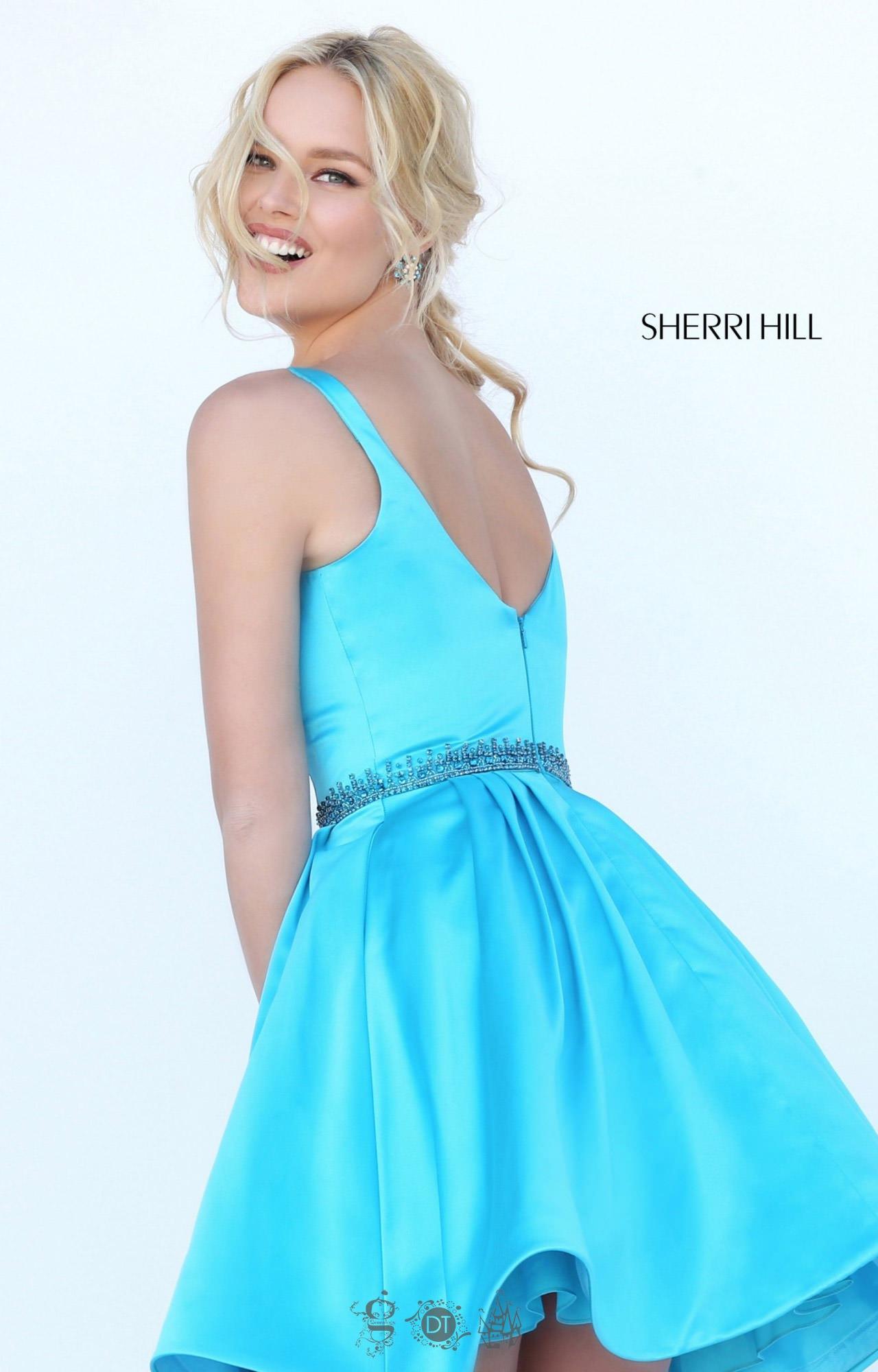 Sherri Hill 50495 Satin Short Dress With Straps Prom Dress