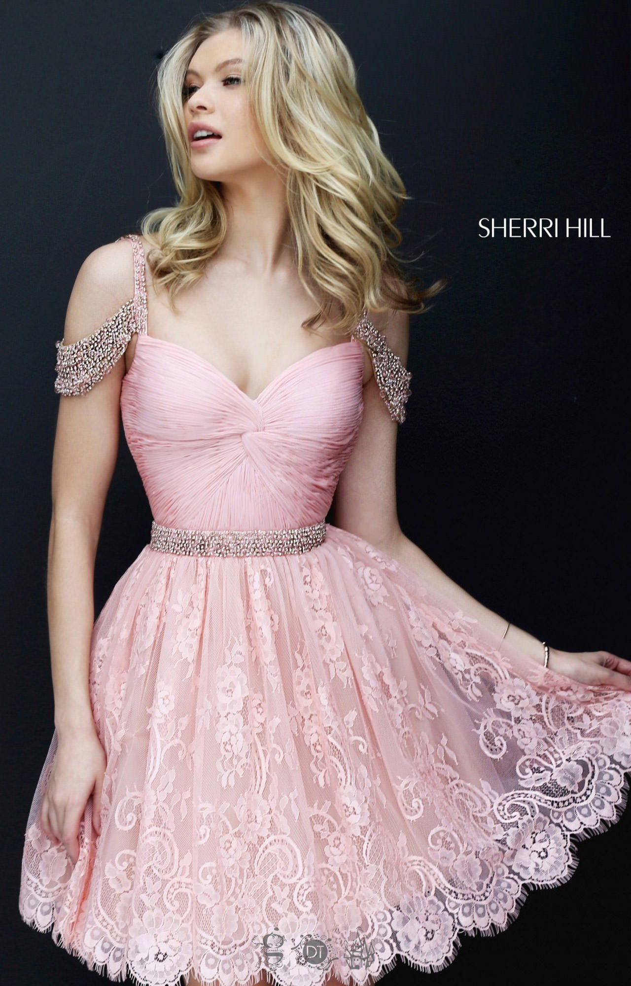 Sherri Hill 50503 Short Off The Shoulder With Straps And