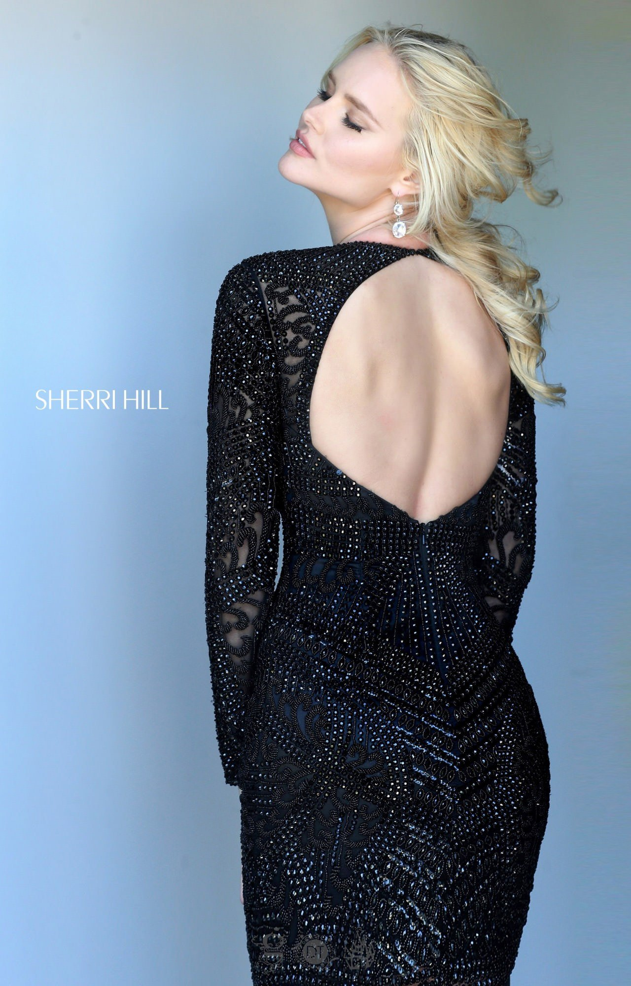 Sherri Hill 50518 - Short Fully Beaded Long Sleeve Dress with Open ...