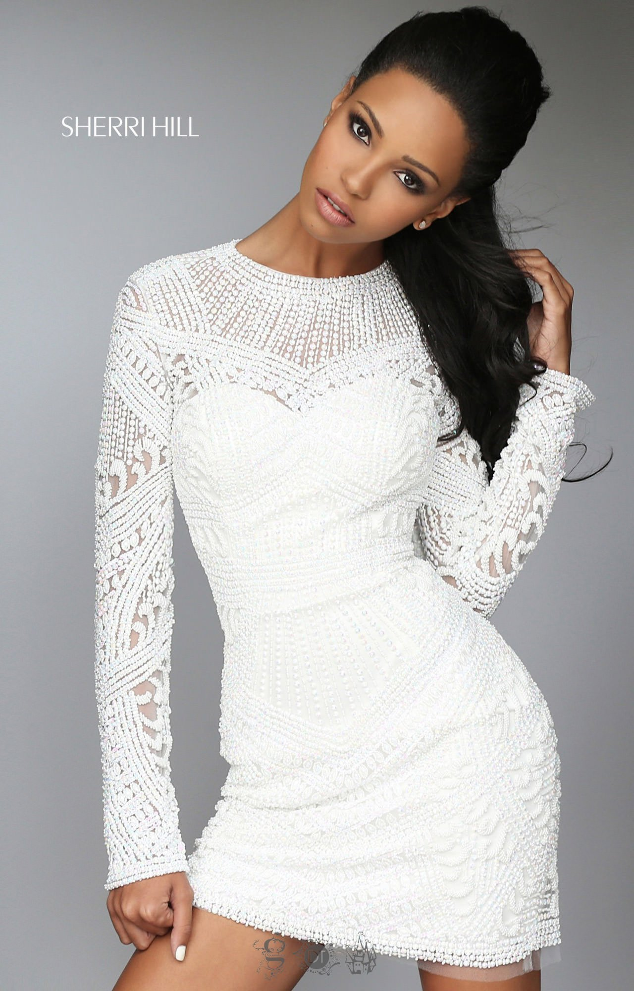 de6a40eb4e8 Sherri Hill 50518 - Short Fully Beaded Long Sleeve Dress with Open Back
