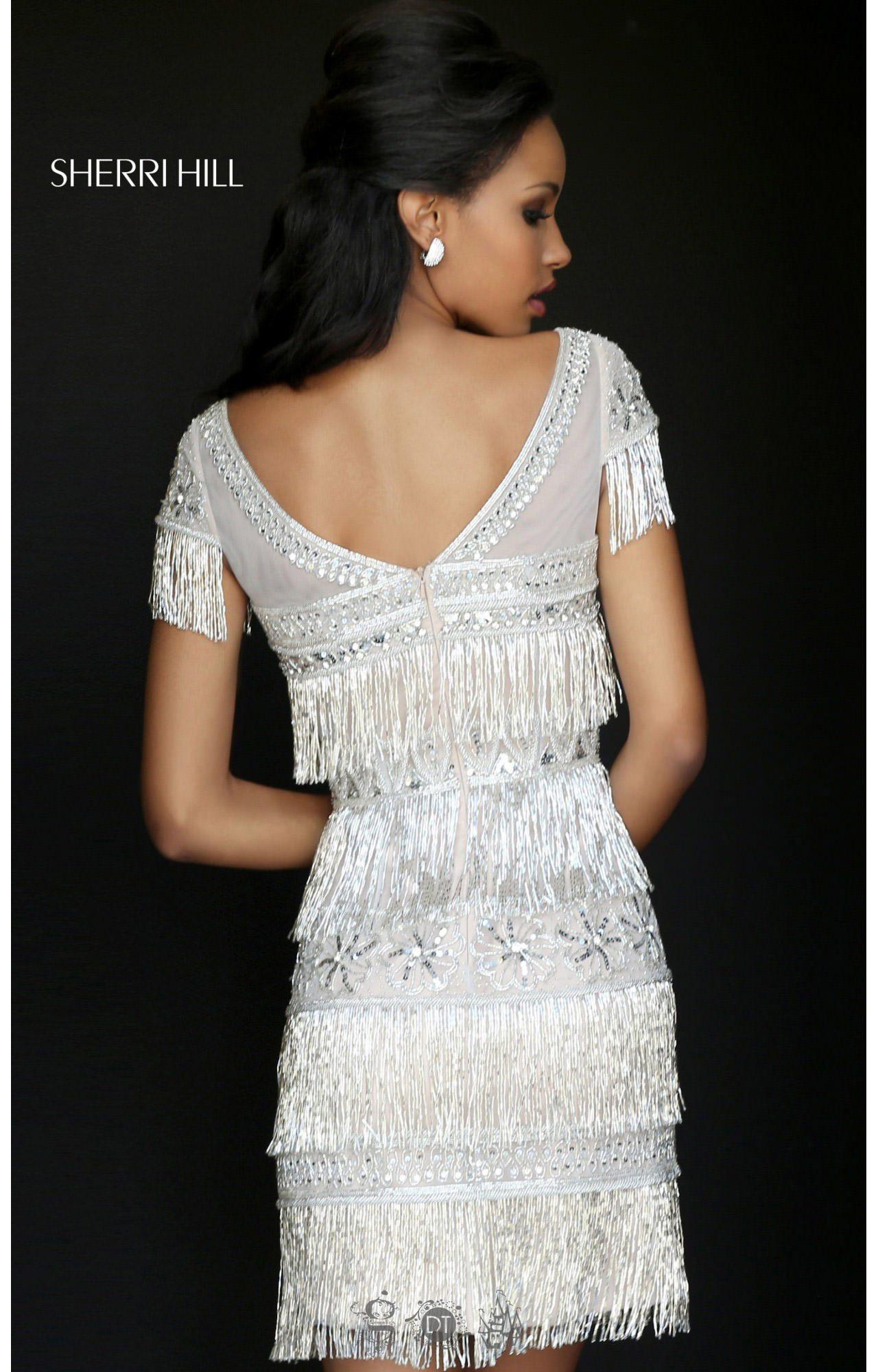 Sherri Hill 50541 Capped Sleeve Fringe Short Dress Prom