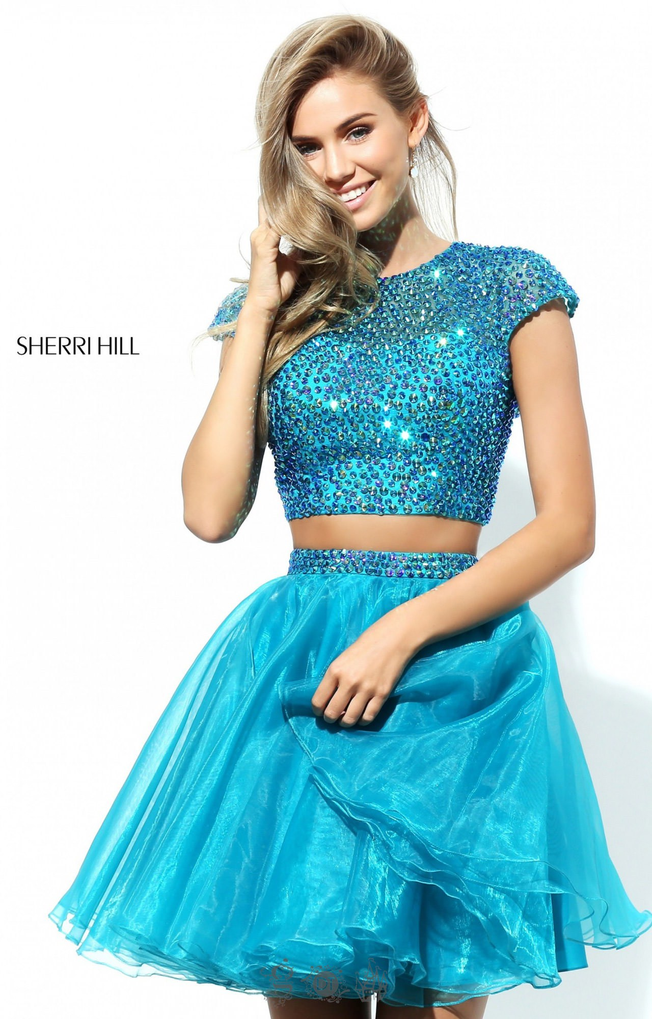 Sherri Hill 50560 Short Open Back 2 Piece With Cap
