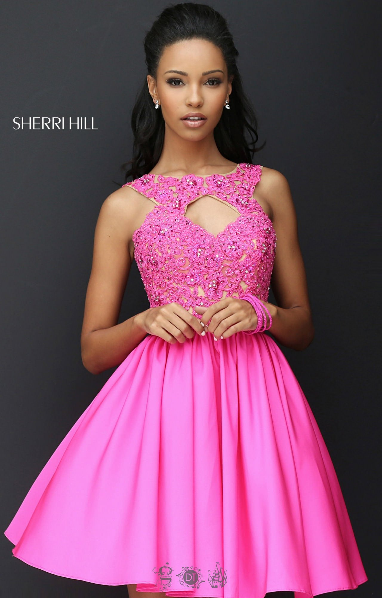 Sherri Hill 50581 Short Taffeta Fit And Flare With Lace