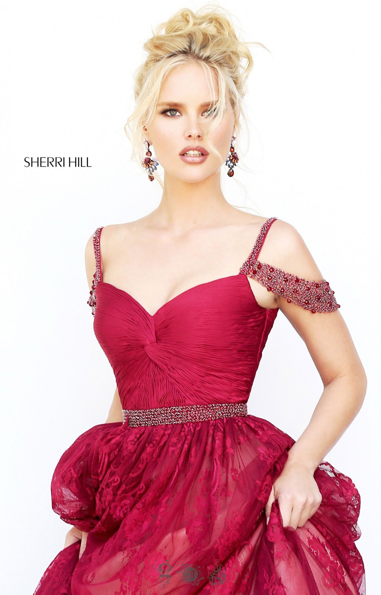sherri hill 50595 off shoulder run way style dress prom