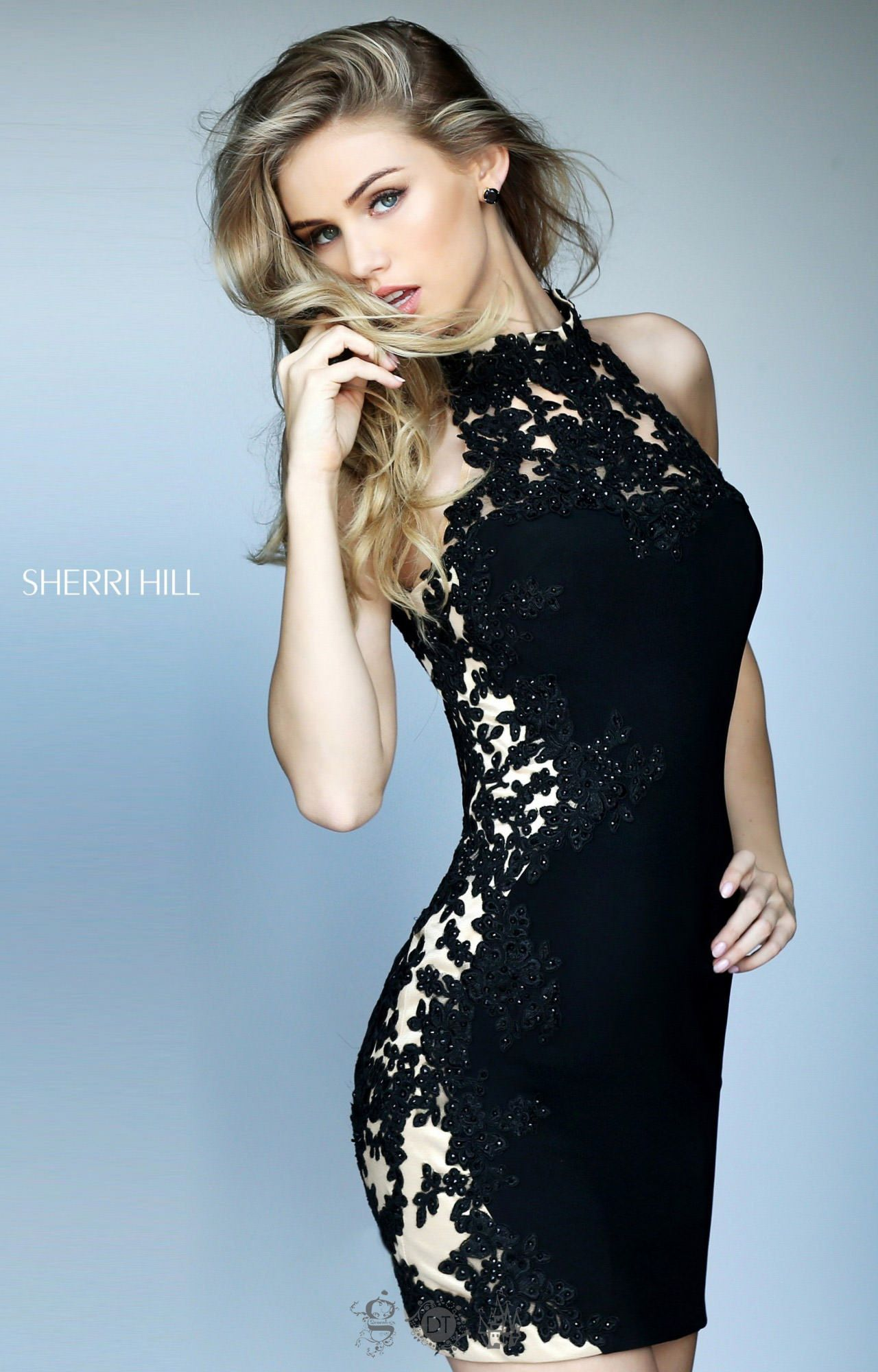Sherri Hill 50608 - High Neck Lace Mini with Illusion Sides Prom Dress