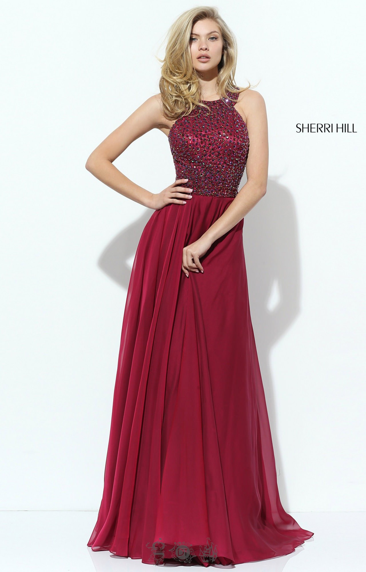 Sherri Hill 50615 Beaded Halter Chiffon Prom Dress