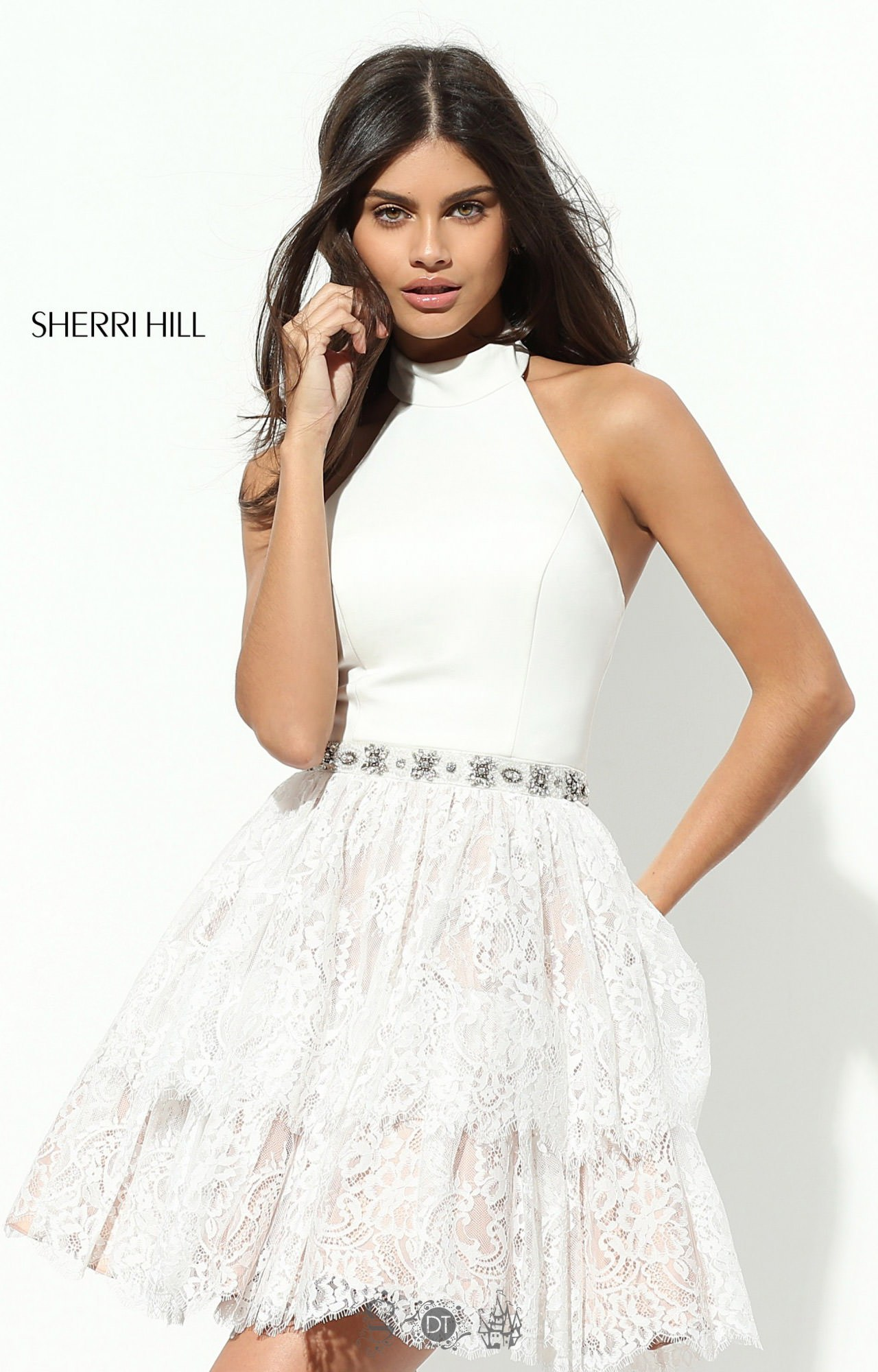 Sherri Hill 50634 Short Neoprene Halter Layered Lace