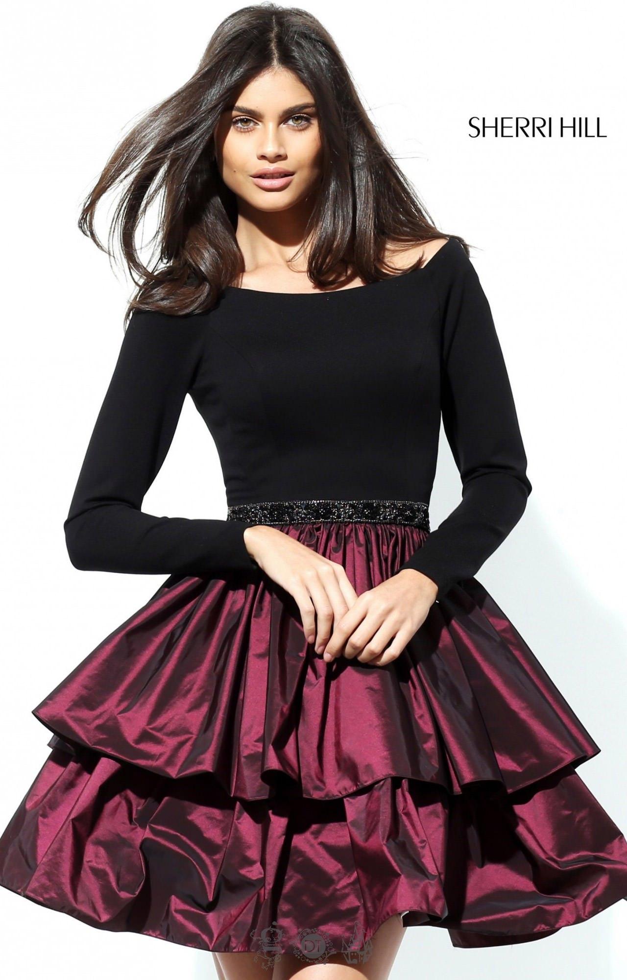 Sherri Hill 50641 Long Sleeve Beaded Waist Ruffle Skirt
