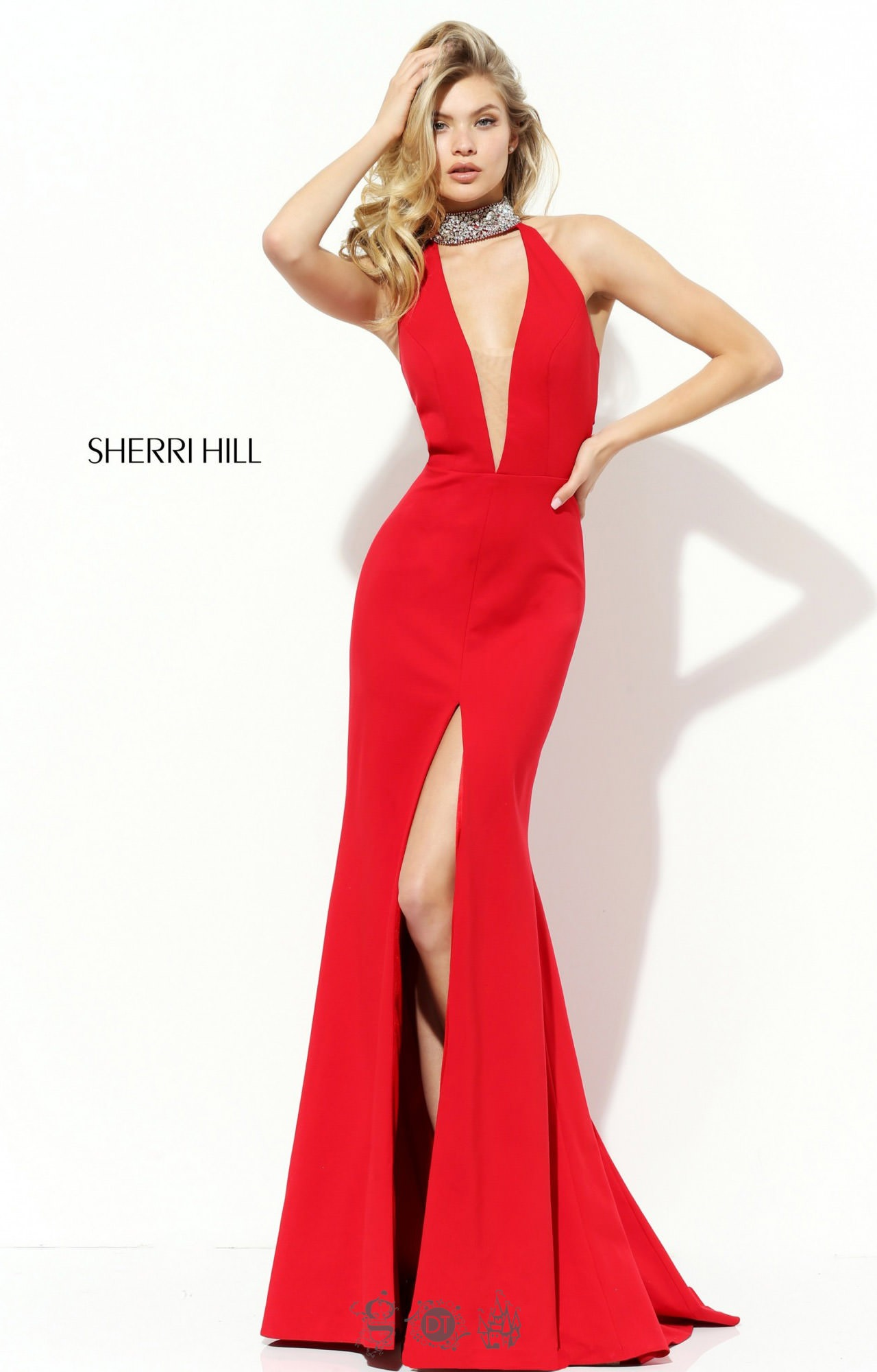 Sherri Hill 50642 - Beaded Jersey Mock Plunging V Neck