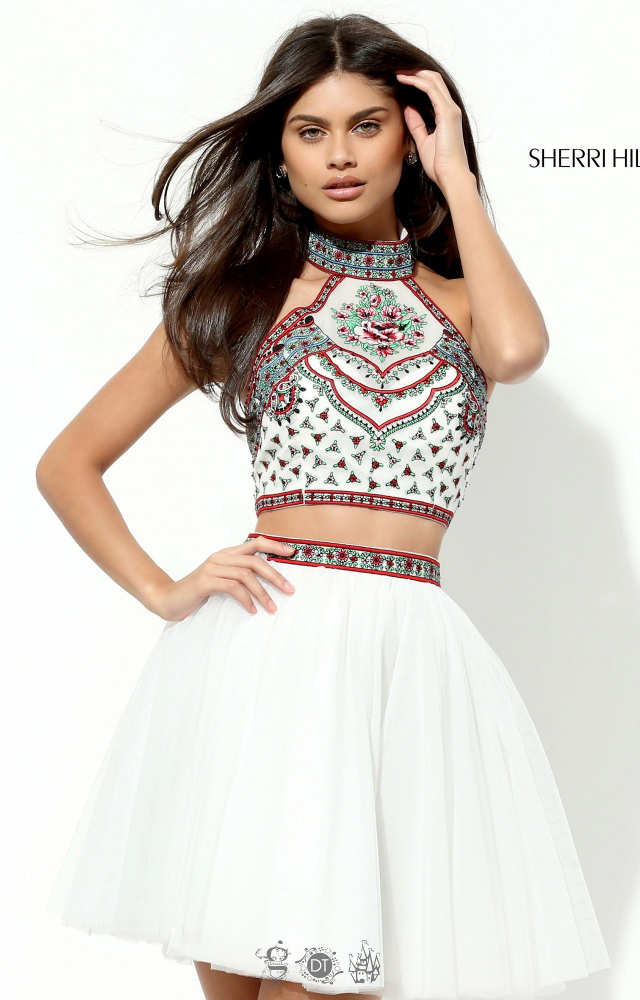Sherri Hill 50645 Short Tulle 2 Piece With Halter Neck