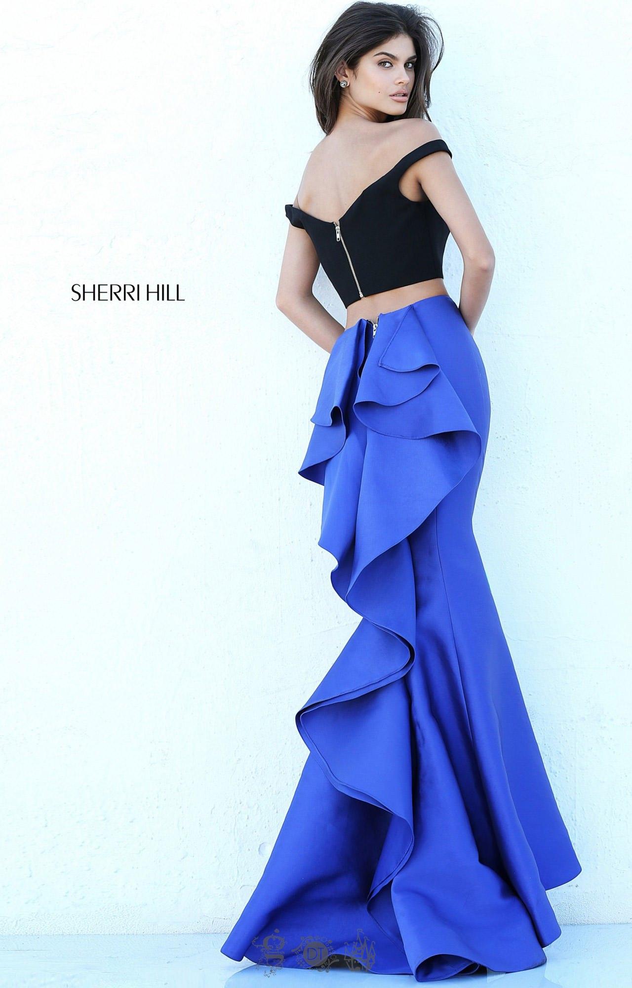 220bd8b8e72 Sherri Hill 50750 - Off-the-Shoulder Color Block 2 Piece Mermaid ...