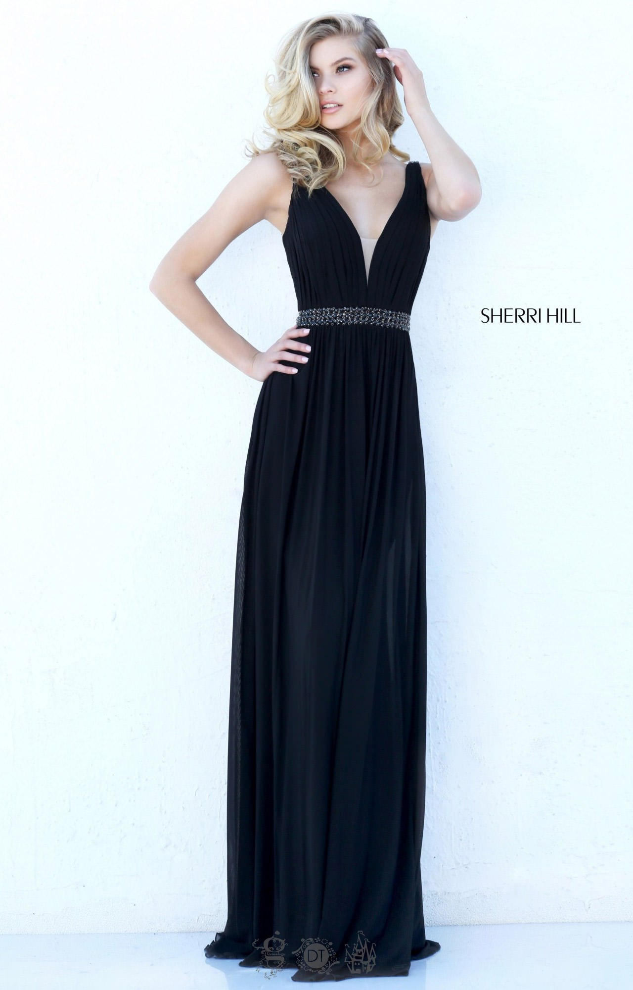 Sherri Hill 50760 Plunging V Neck Strapped Jersey Mesh