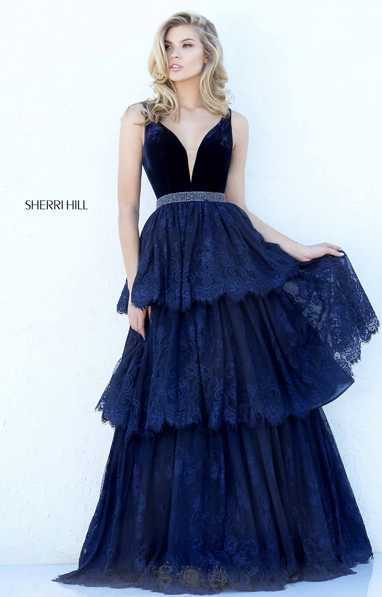 sherri hill 50771 lace and velvet ball gown prom dress