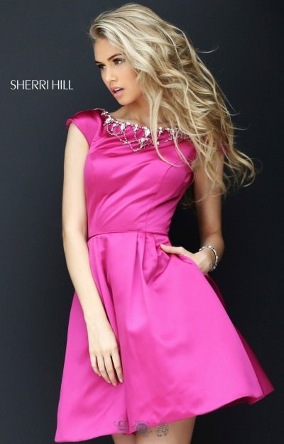 Jeweled Neckline Capped Sleeve Short Dress
