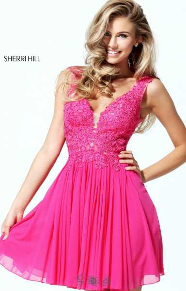 Sherri Hill 50756 Short Lace Swing Dress Prom Dress