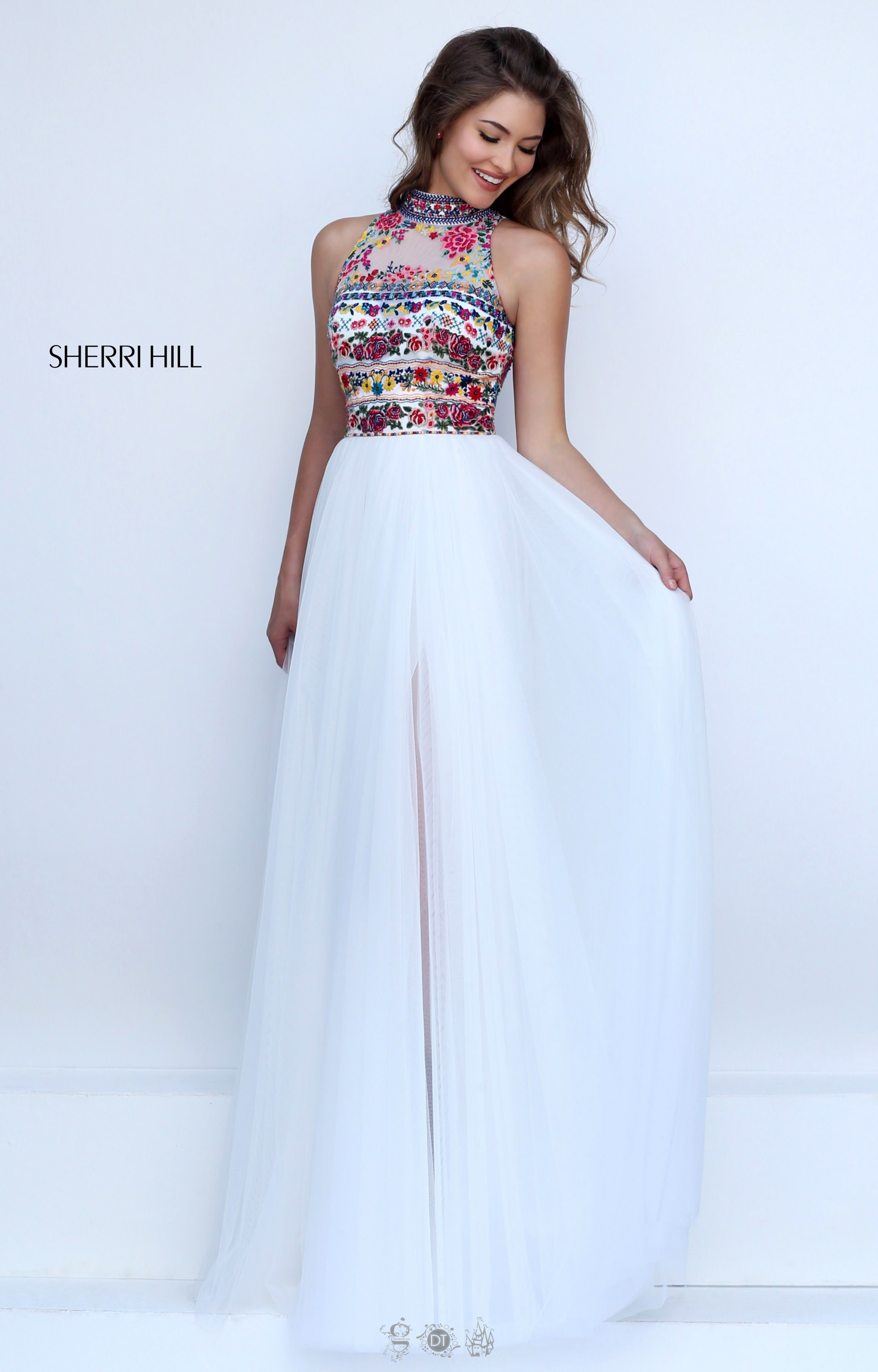 Sherri Hill 50141 Sleeveless Halter With Embroidery And