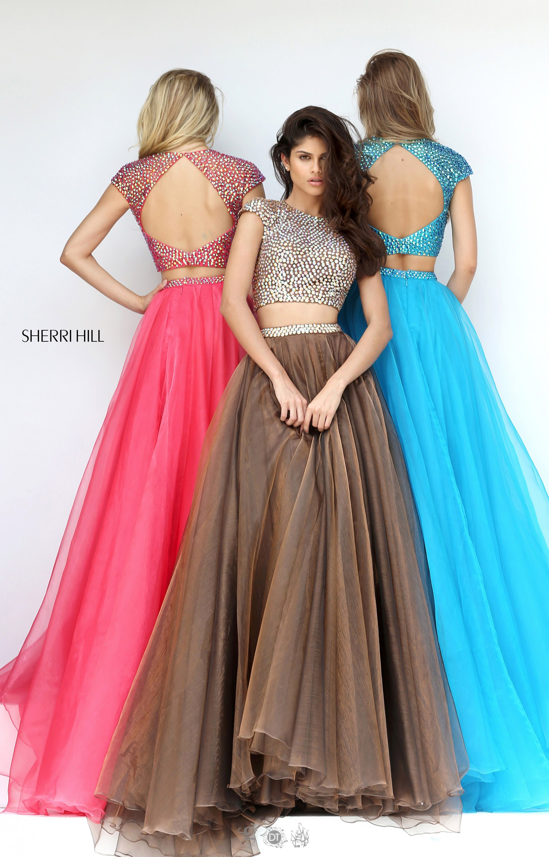 Sherri Hill 50561 Tulle A Line 2 Piece With Cap Sleeves