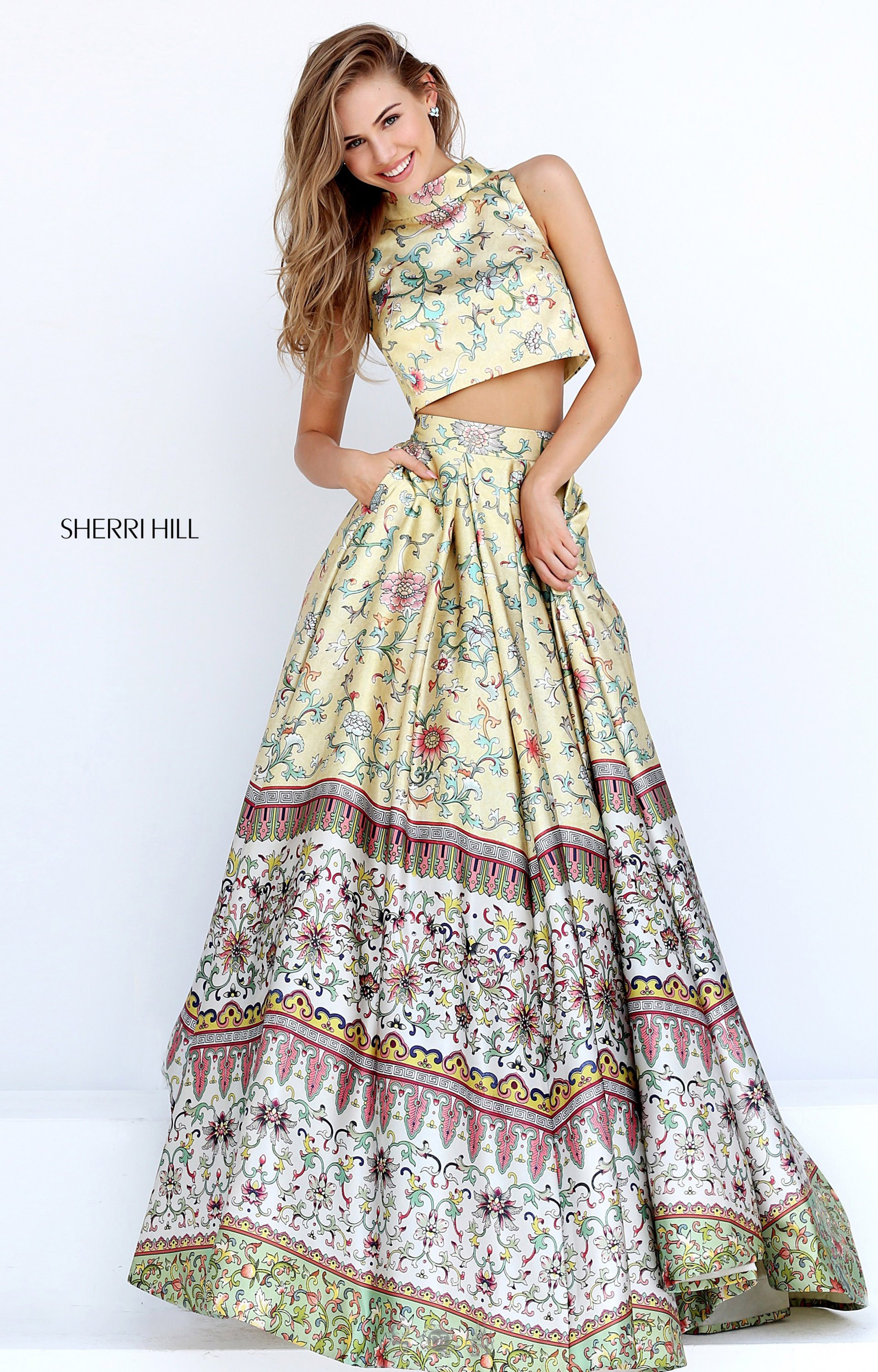Sherri Hill 50783 Long Two Piece Floral Ball Gown