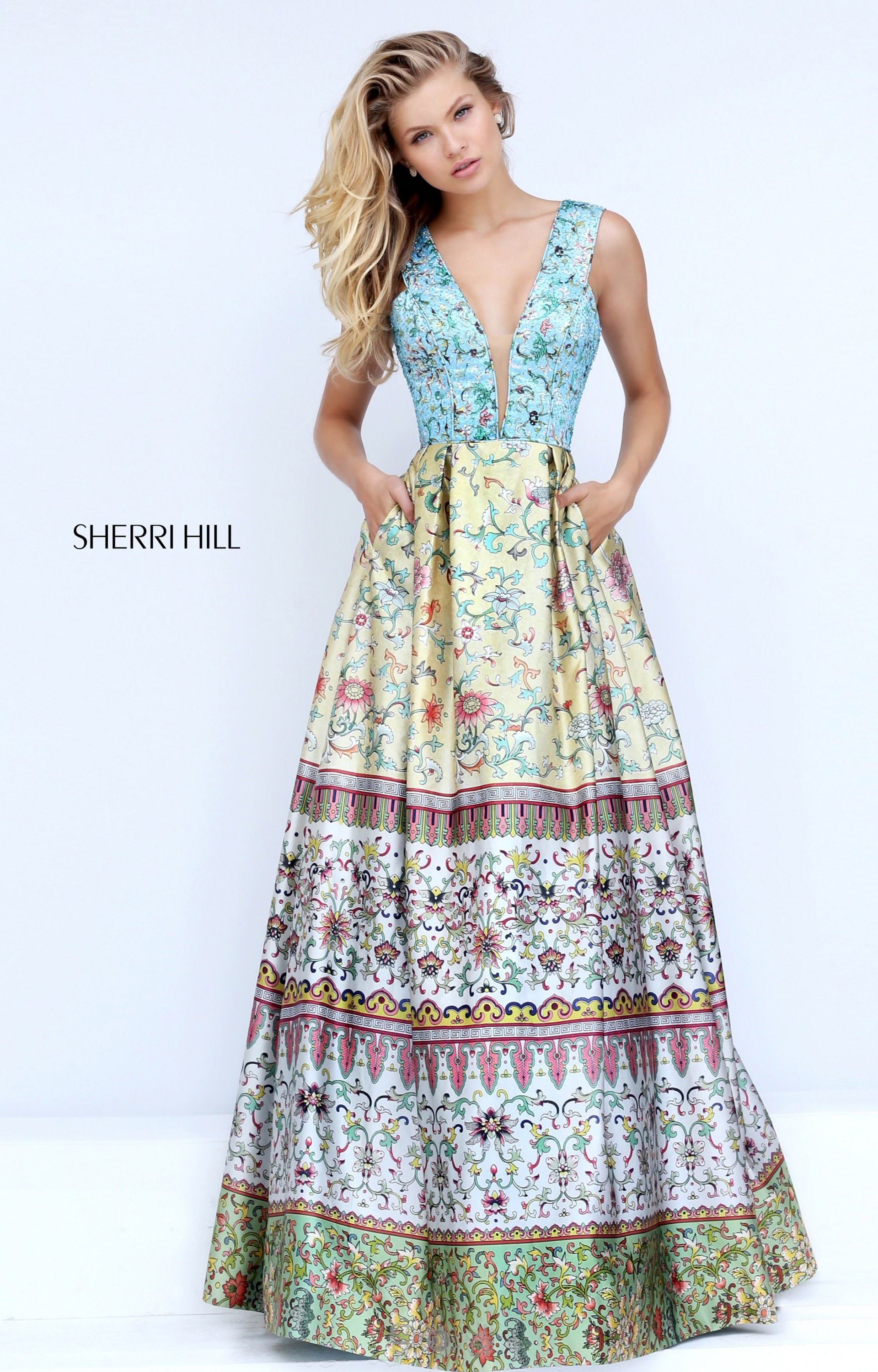 Sherri Hill 50788 - V-Neckline Printed Pattern Ball Gown Dress Prom ...