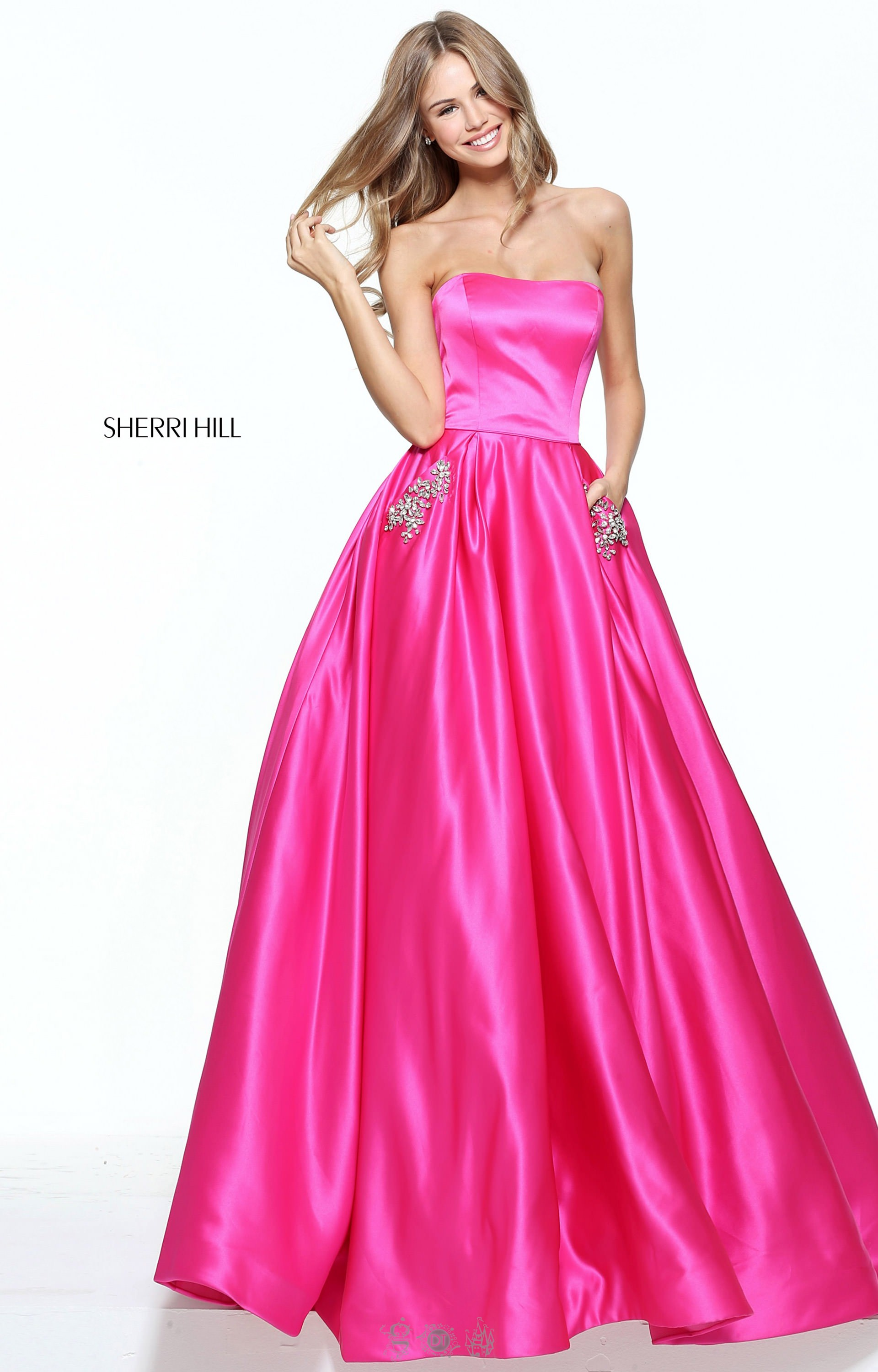 Sherri Hill 50812 - Strapless Satin Ballgown with Beaded Pockets ...
