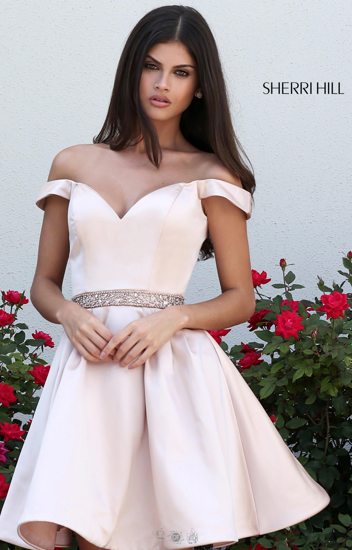 Sherri Hill 50815 Off The Shoulder Satin Short Dress