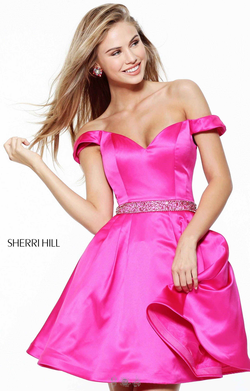 Sherri Hill 50815 - Off the Shoulder Satin Short Dress Prom Dress