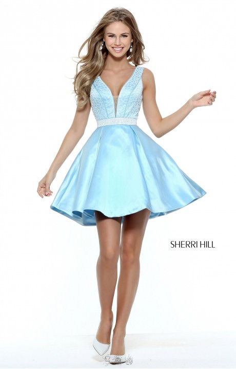 Sherri Hill 50819 Short Fit And Flare With Beaded V Neck