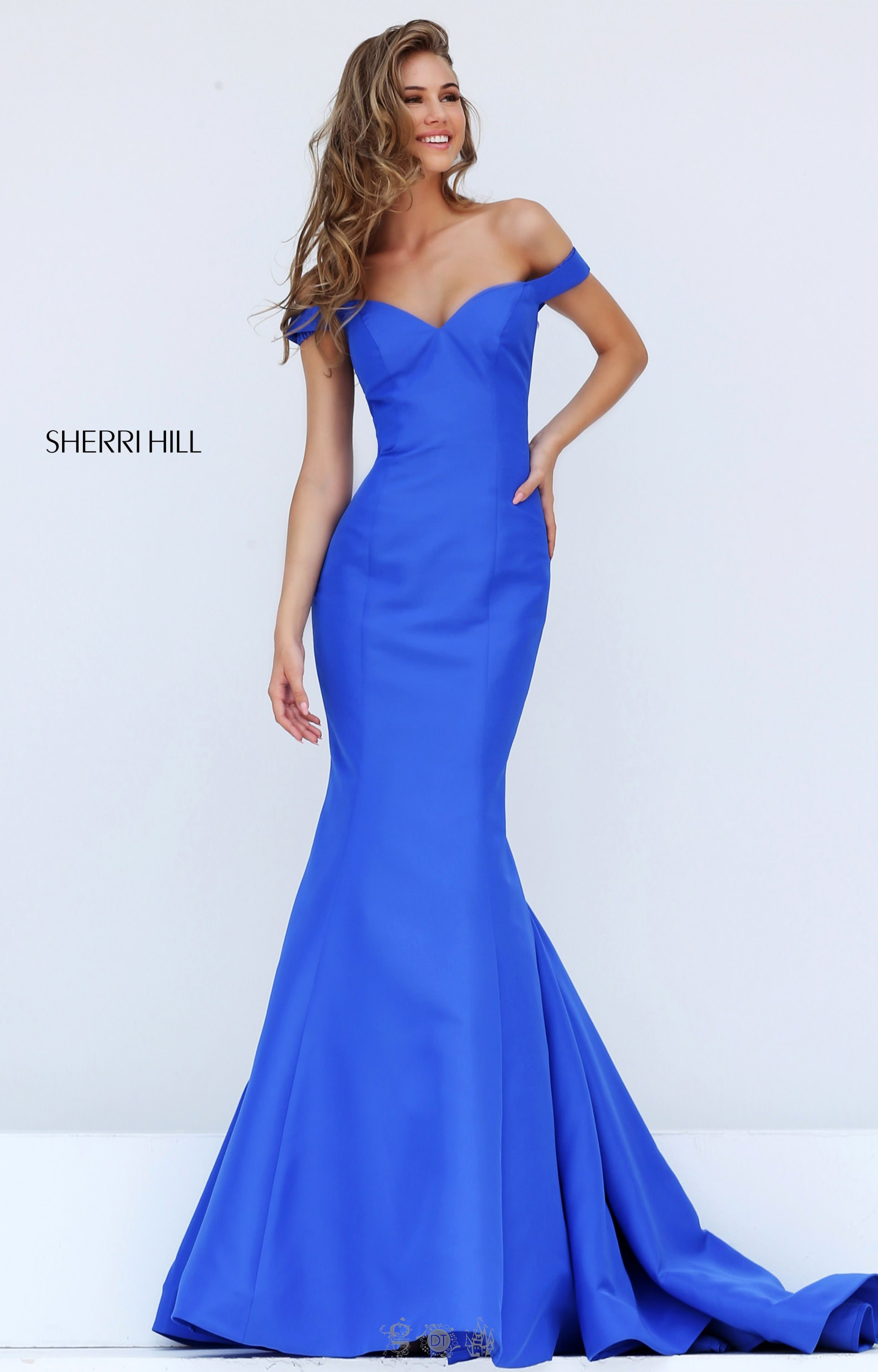 Sherri Hill 50823 - Fitted Mikado Off-the-Shoulder Sweetheart Neckline  Mermaid with Train Prom Dress 38ba8c79a