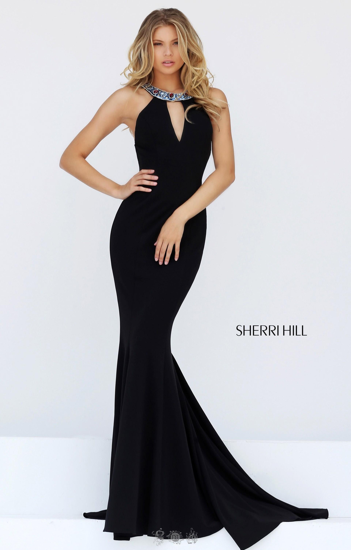 Sherri Hill 50835 Beaded Halter Neckline Fitted Dress