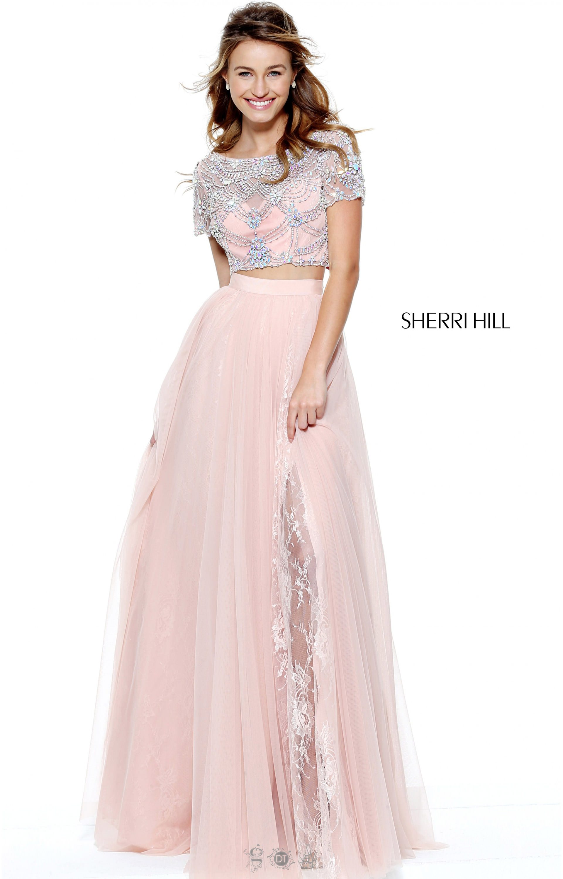 Sherri Hill 50857 - Two-Pice with Cap Sleeves Prom Dress