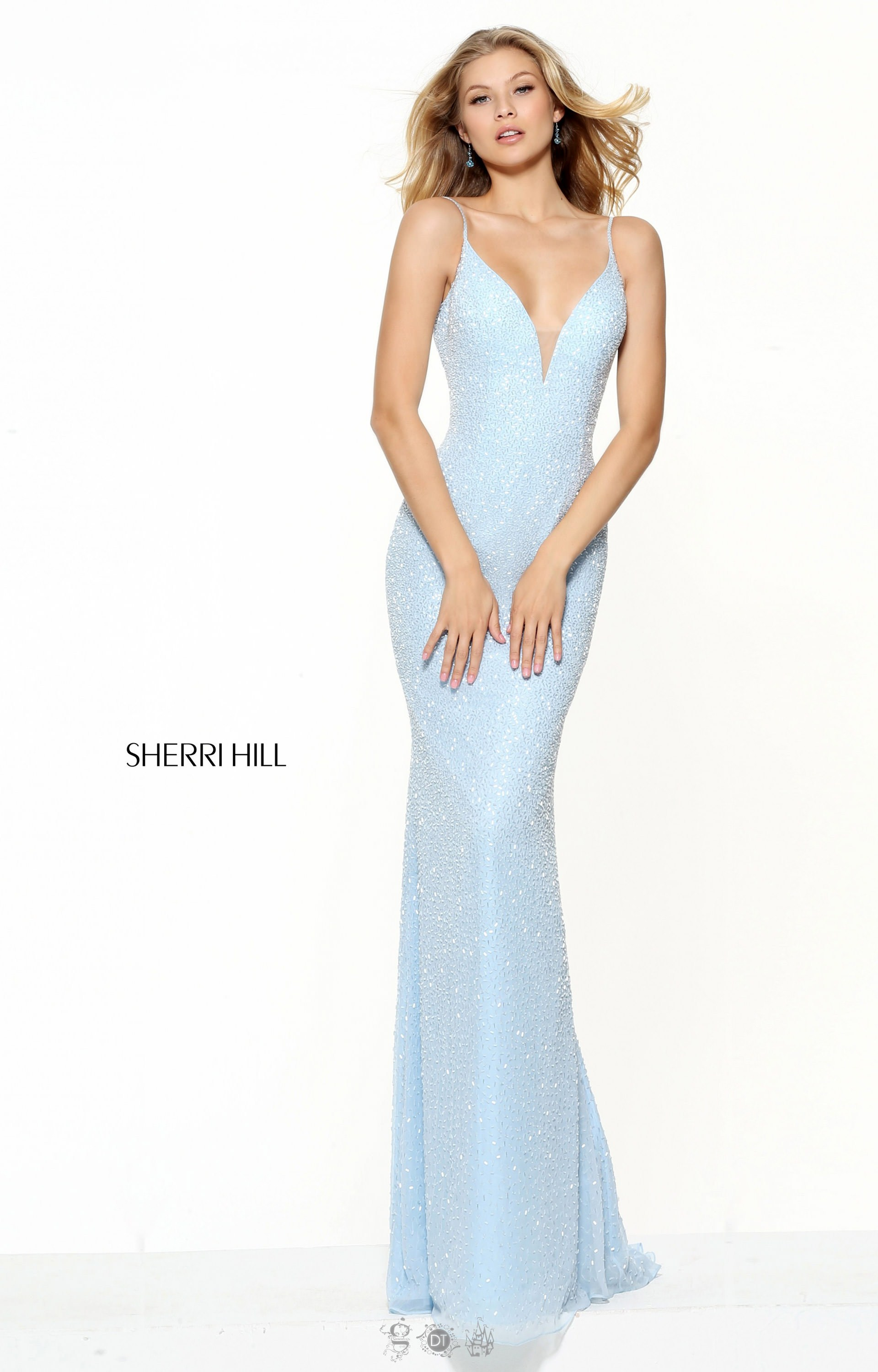 Sherri Hill 50860 Fitted Gown With Open Back And Straps